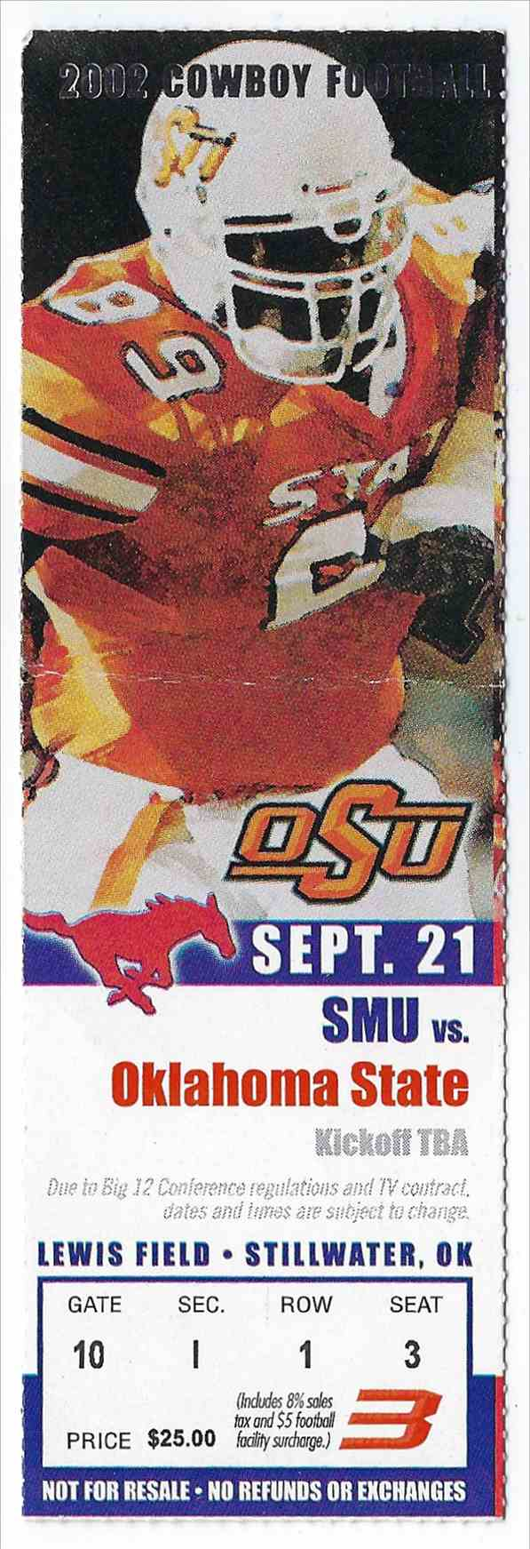 2002 College Football Ticket Stub Smu Vs Oklahoma State card front image