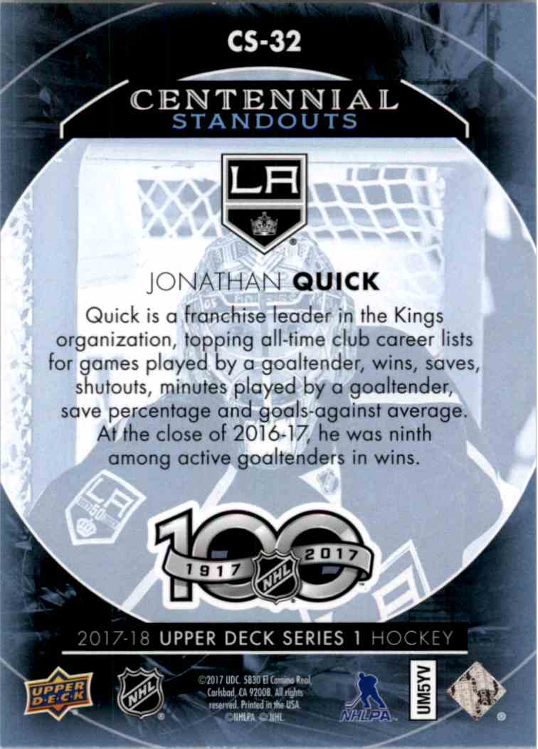 2017-18 Upper Deck Centennial Standouts Jonathan Quick #CS-32 card back image