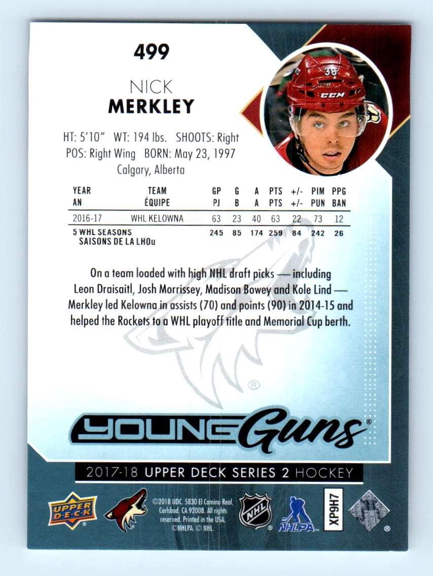 2017-18 Upper Deck Young Guns Nick Merkley #499 card back image