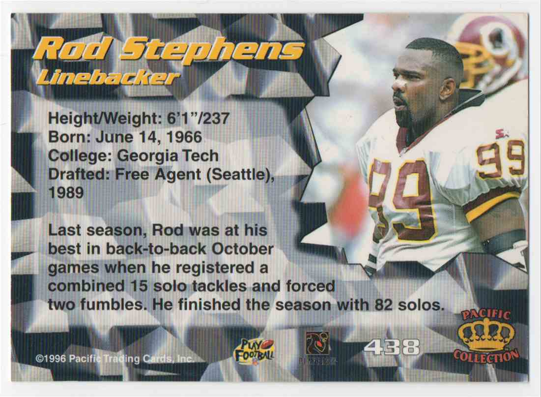 1996 Pacific Rod Stephens #438 card back image