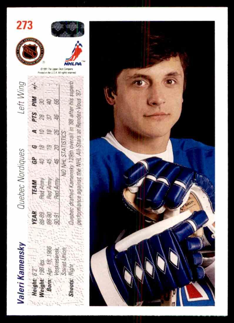 1991-92 Upper Deck Valeri Kamensky #273 card back image