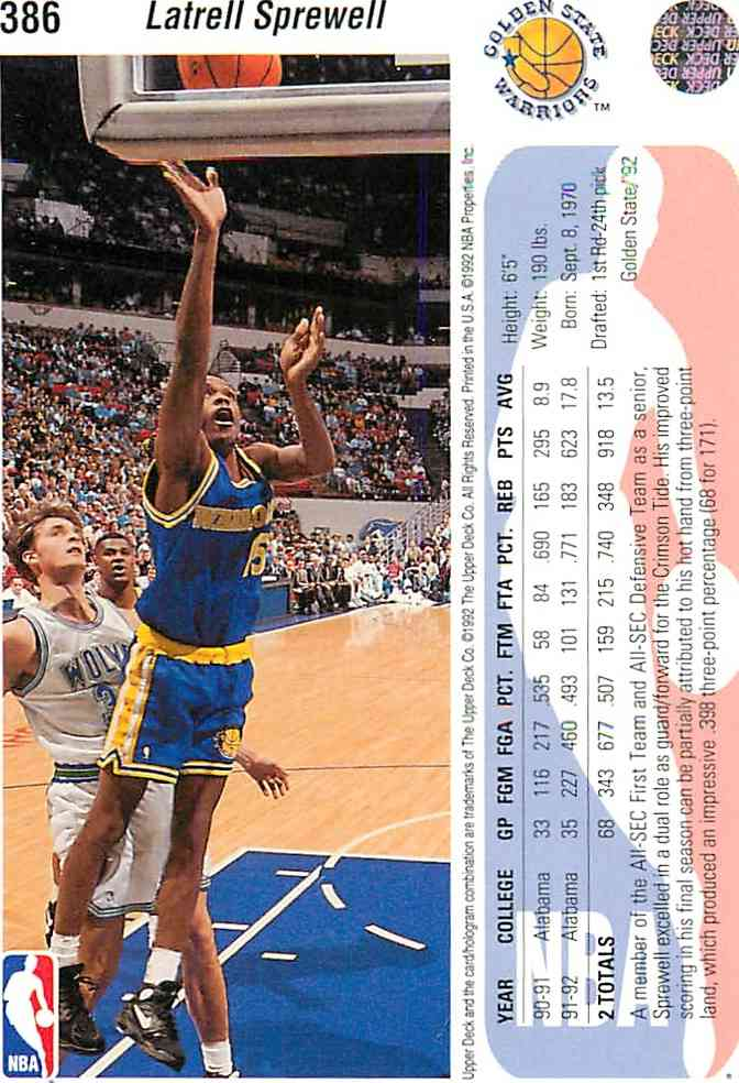 1992-93 Upper Deck NBA Latrell Sprewell #386 card back image