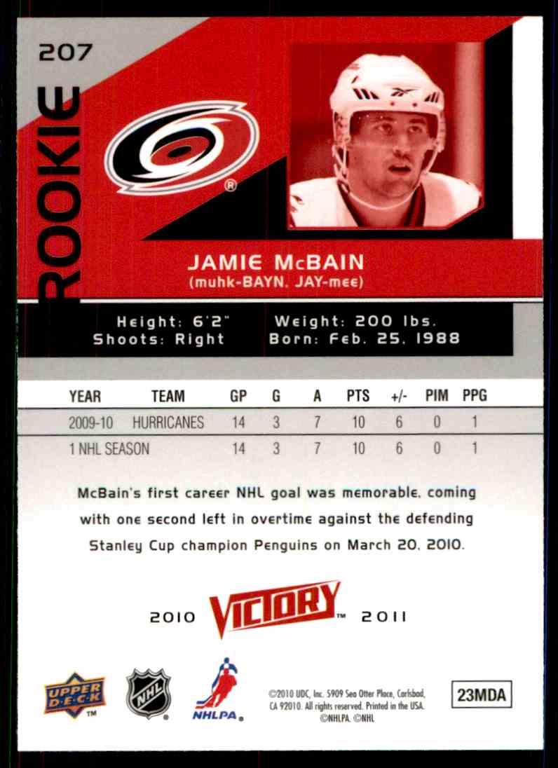 2010-11 Upper Deck Victory Rookie Jamie McBain #207 card back image
