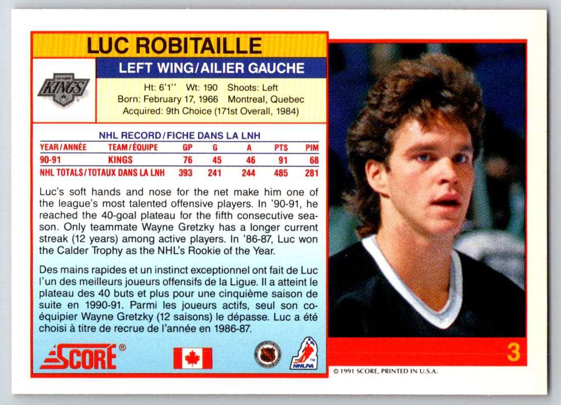 1991-92 Score Canadian Bilingual Luc Robitaille #3 card back image