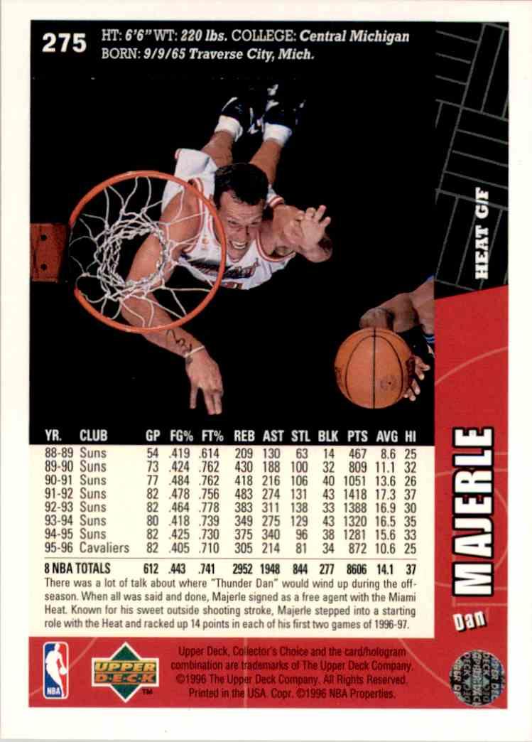 1996-97 Collector's Choice Dan Majerle #275 card back image