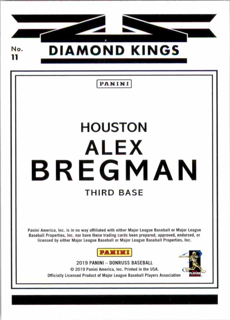 2019 Donruss Alex Bregman Dk #11 card back image