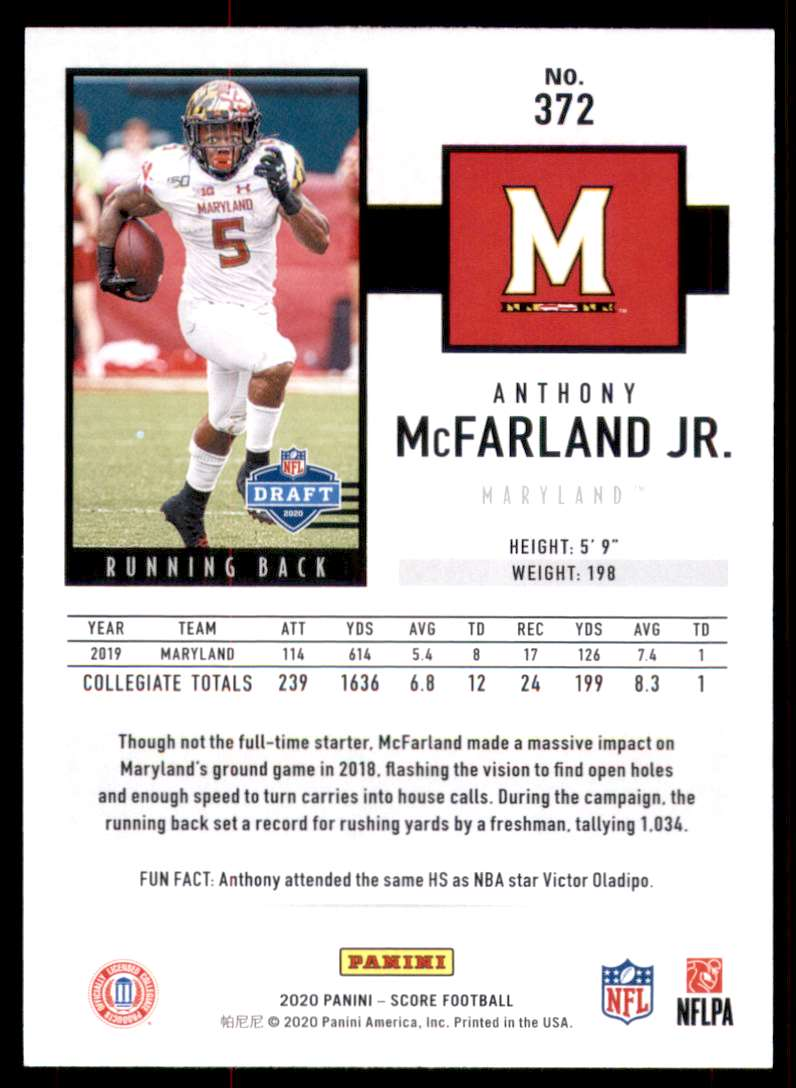 2020 Score Anthony McFarland JR. RC #372 card back image