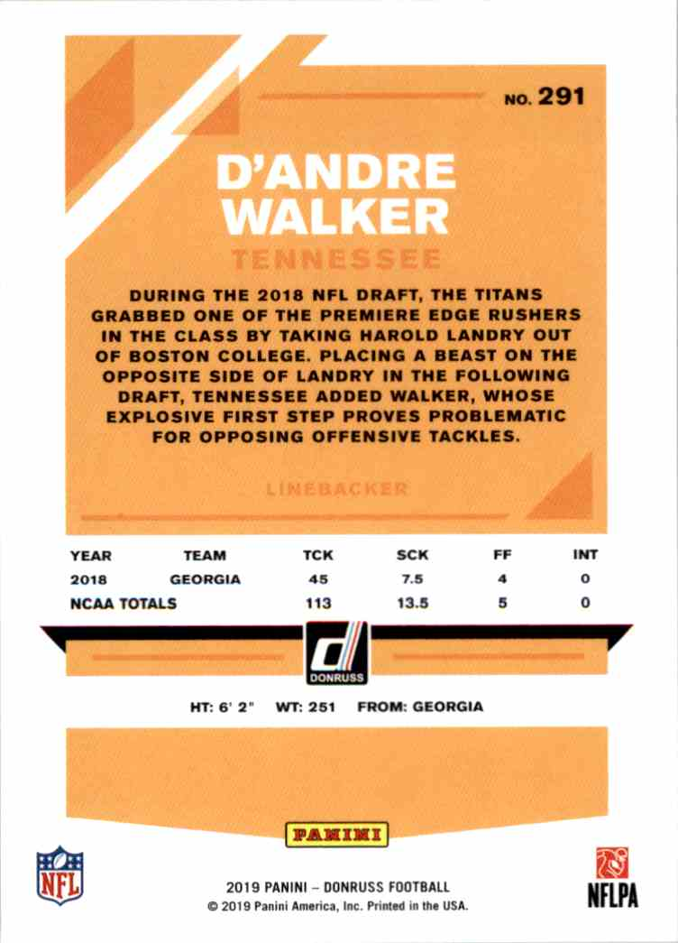 2019 Panini Donruss D'Andre Walker #291 card back image