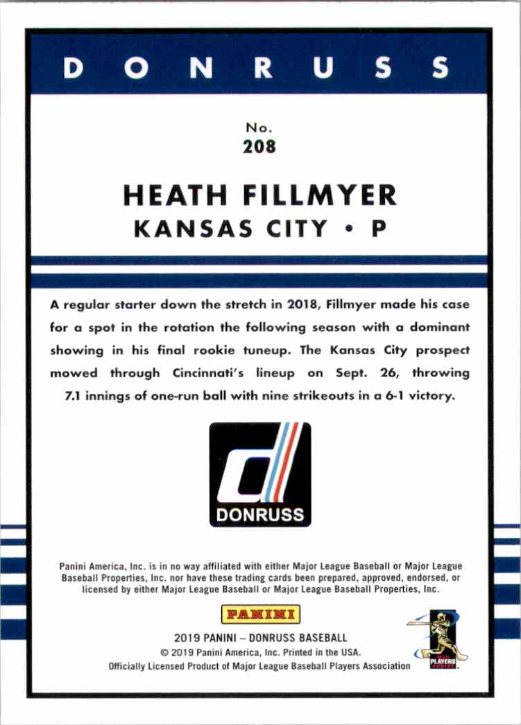 2019 Donruss Heath Fillmyer Retro RC #208 card back image