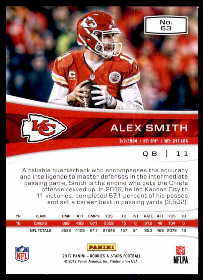 2017 Rookies And Stars Alex Smith #63 card back image