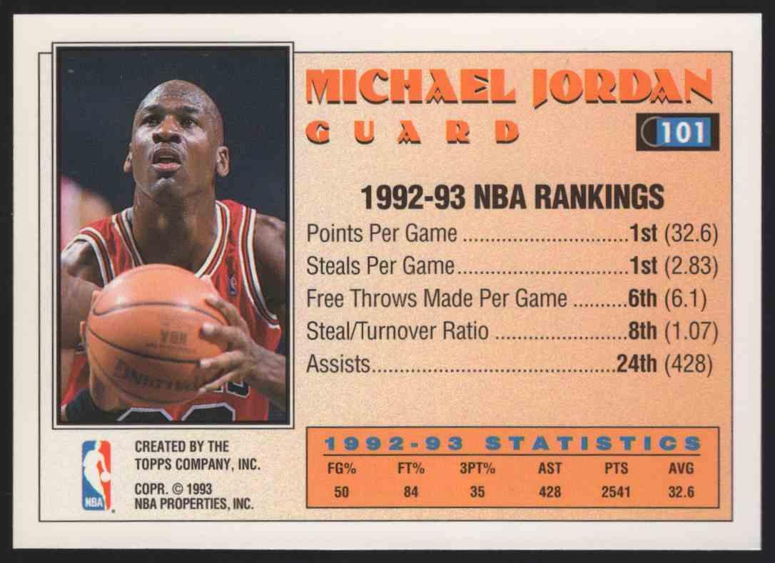 1993-94 Topps Michael Jordan As #101 card back image