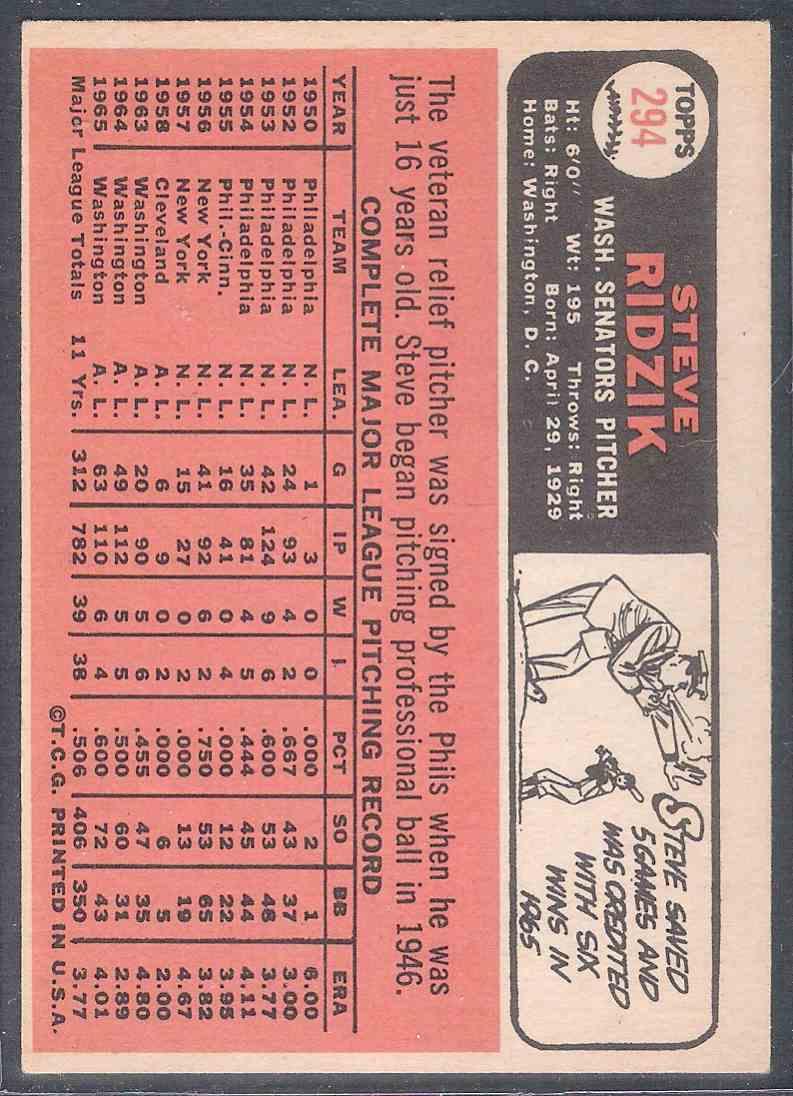 1966 Topps Steve Ridzik #294 card back image