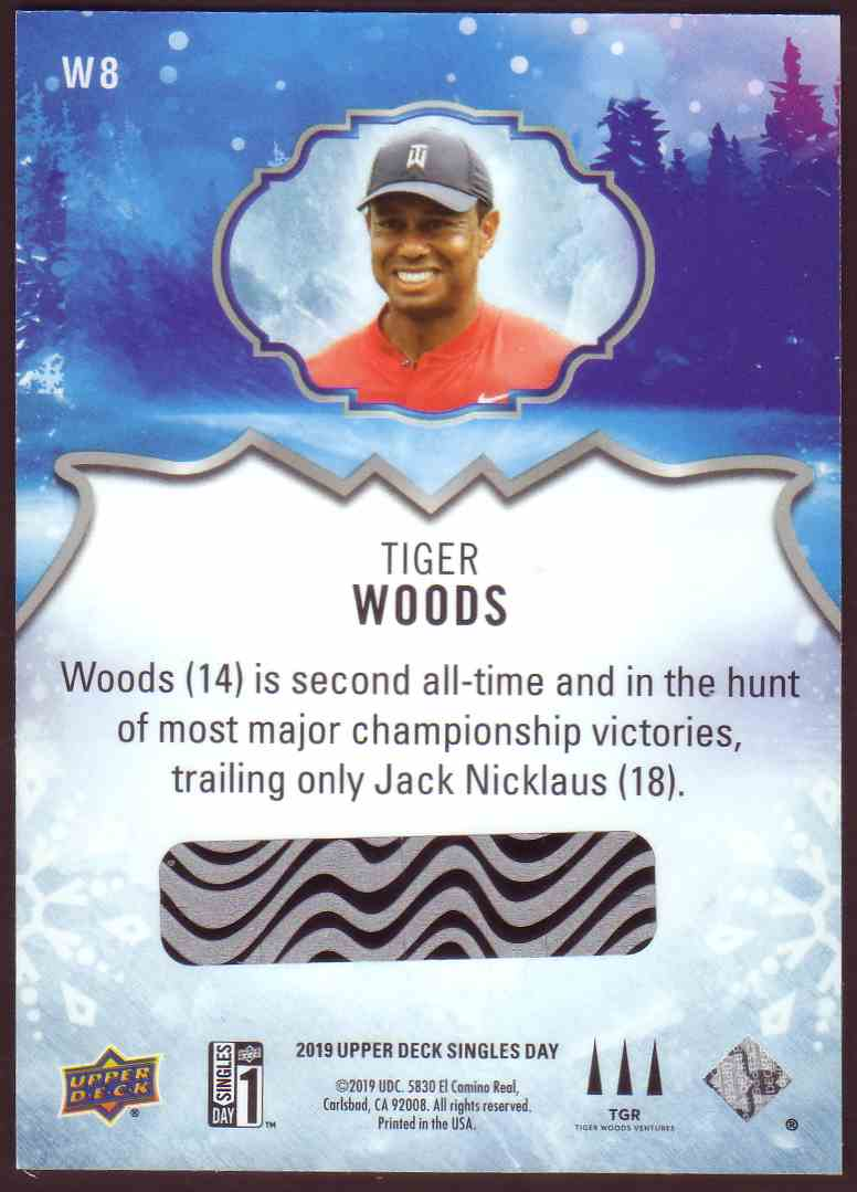 2019-20 Upper Deck Singles Day Winter Bounty Tiger Woods #W8 card back image