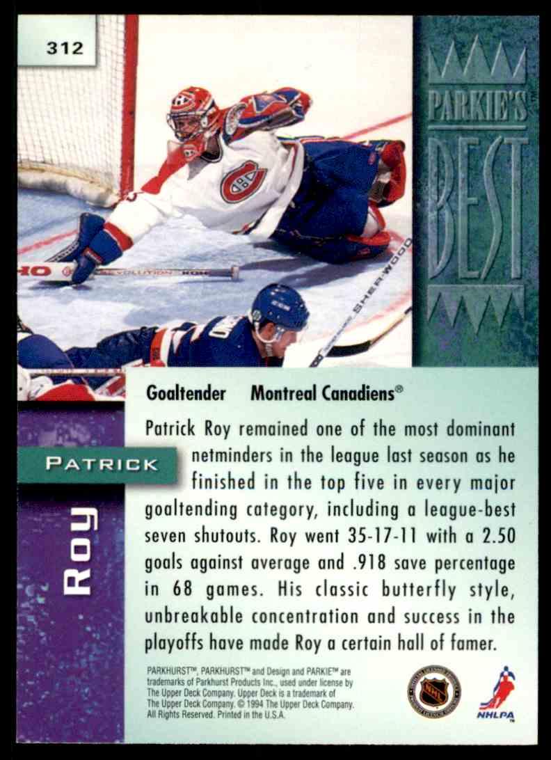 1994-95 Parkhurst Patrick Roy #312 card back image
