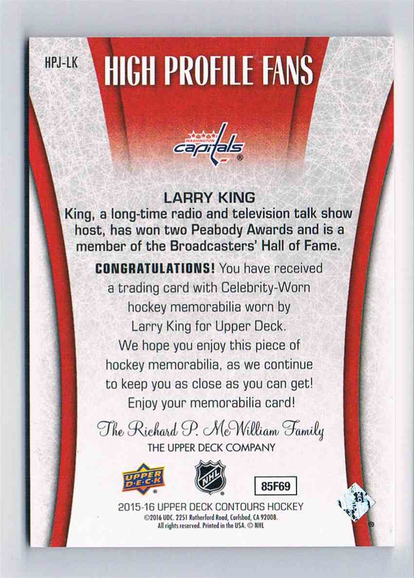 2015-16 Upper Deck Contours High Profile Fans Larry King #HPJ-LK card back image