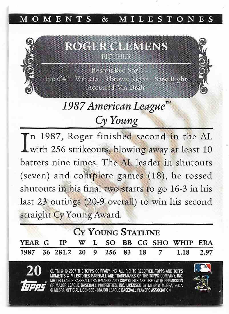 2007 Topps Moments & Milestones Roger Clemens #BLACK 20-12 card back image