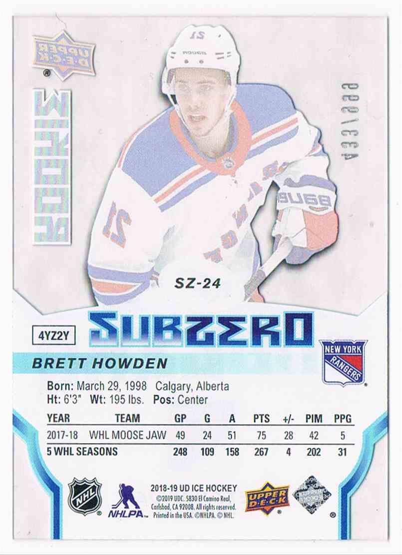 2019-20 Upper Deck Ice Subzero Brett Howden #SZ-24 card back image