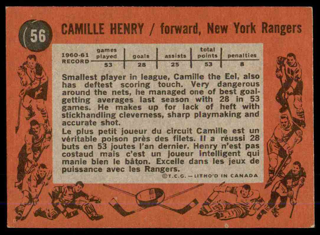 1961-62 Topps Camille Henry #56 card back image