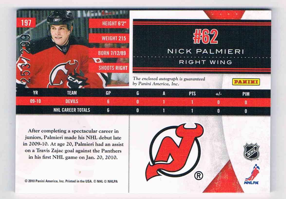 2010-11 Panini Limited Phenoms Autograph Nick Palmieri #197 card back image