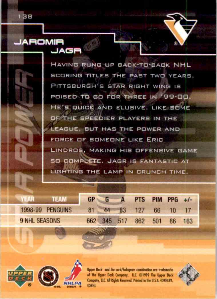 1999-00 Upper Deck Star Power Gold Reserve Jaromir Jagr #138 card back image