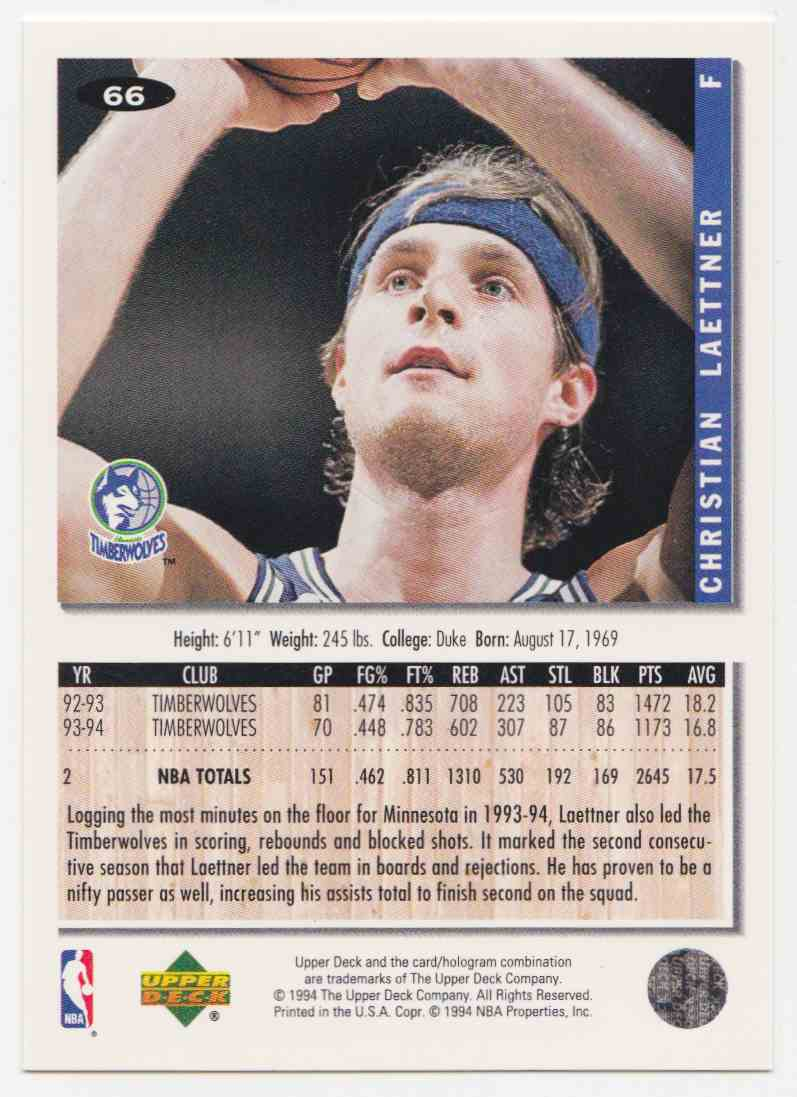 1994-95 Upper Deck Collector's Choice Base Christian Laettner #66 card back image