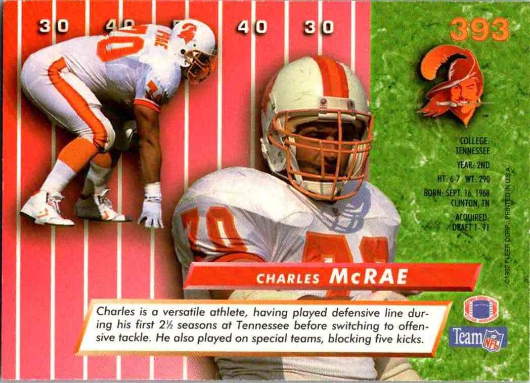 1992 Fleer Ultra Charles McRae #393 card back image