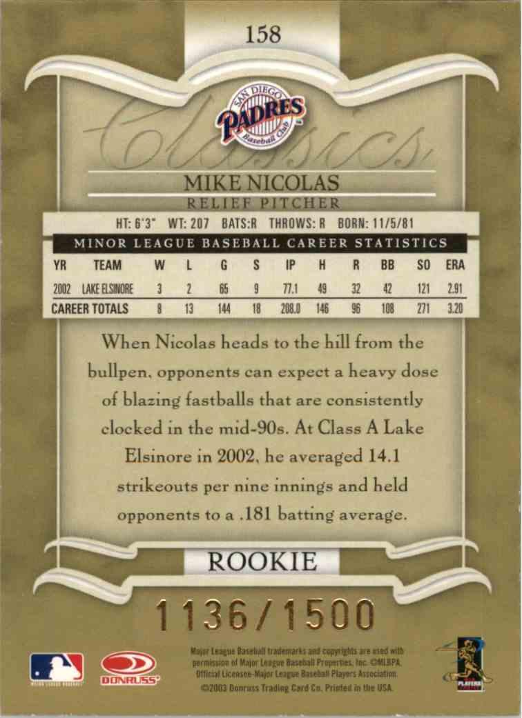 2003 Donruss Classics Mike Nicolas #158 card back image