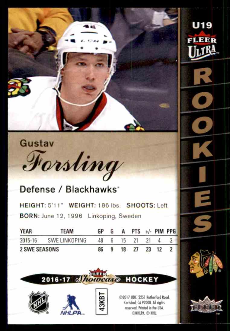 2016-17 Fleer Showcase Ultra Rookies Gustav Forsling #U19 card back image