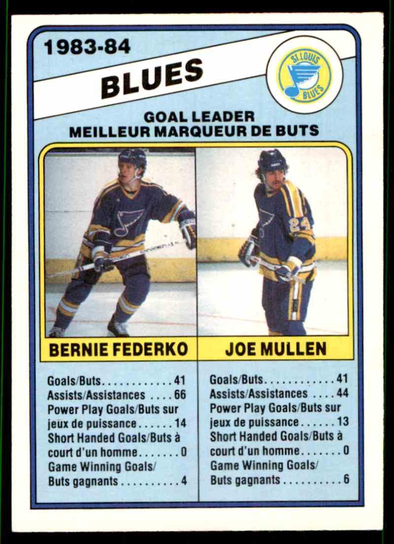 1984-85 O-Pee-Chee Berni Federko Joe Mullen #367 card front image