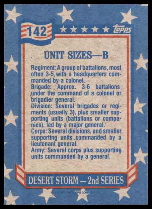 1991 Desert Storm Topps Unit Sizes - B #142 card back image