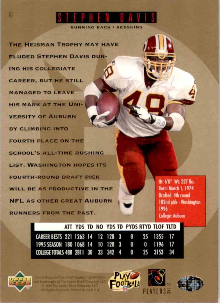 1996 SP Stephen Davis #20 card back image