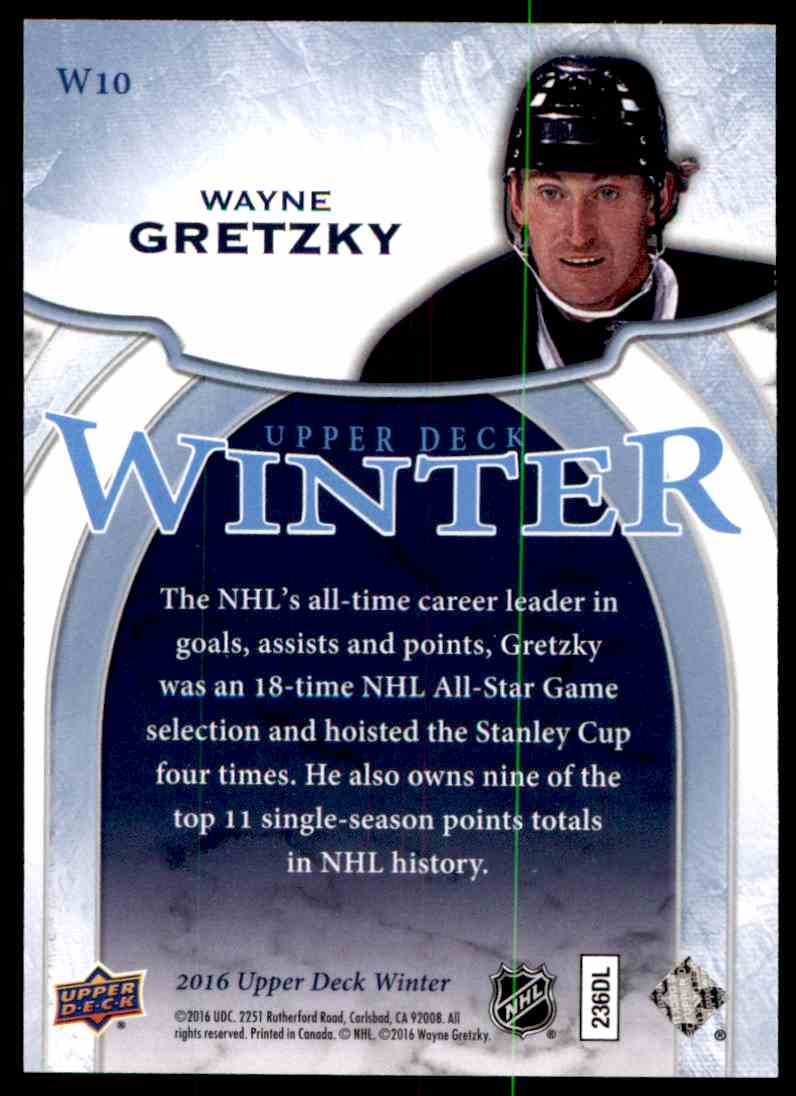 2016-17 Upper Deck Winter Wayne Gretzky #W10 card back image