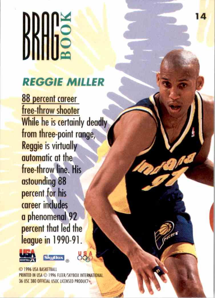 1996-97 SkyBox USA Reggie Miller #14 card back image