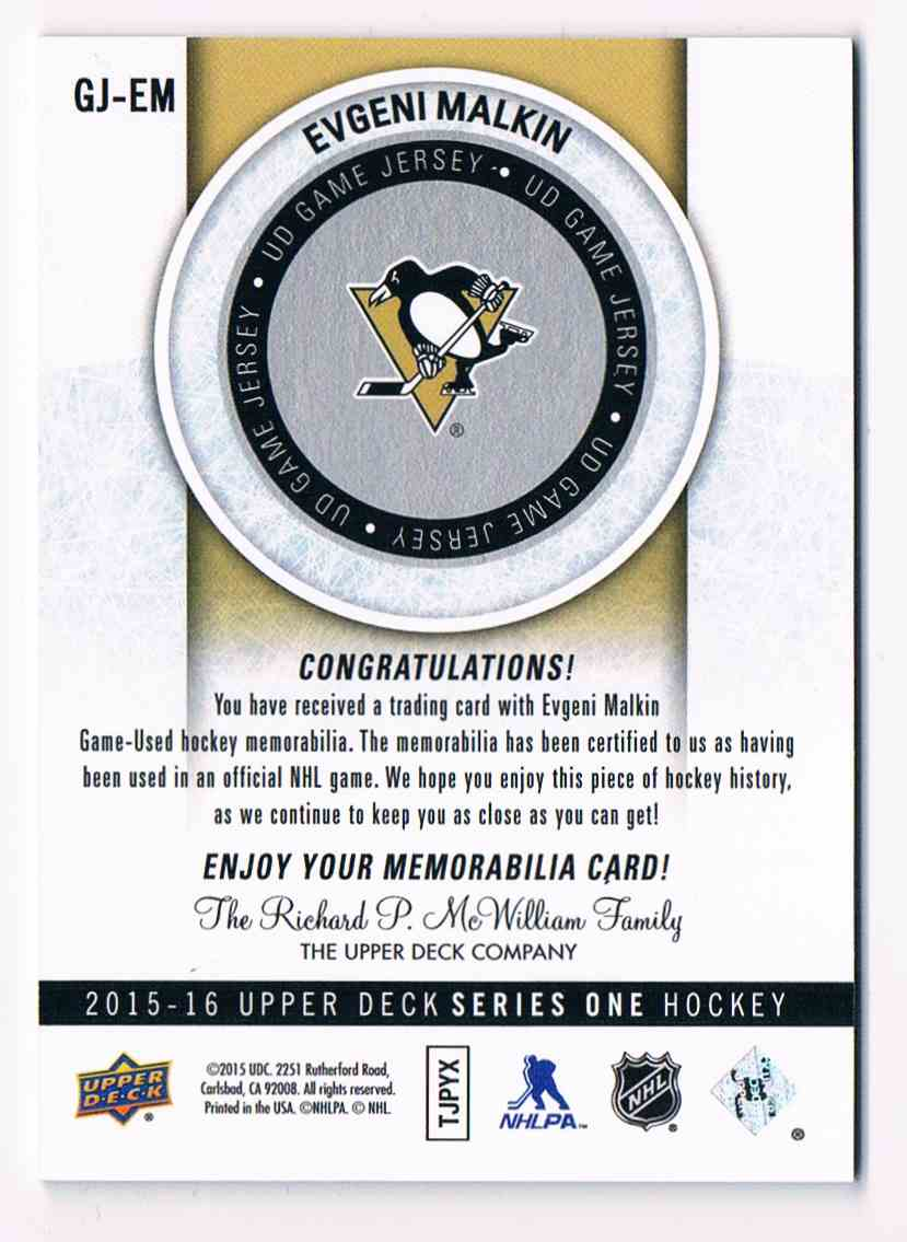 2015-16 Upper Deck Series One Evgeni Malkin #GJ-EM card back image