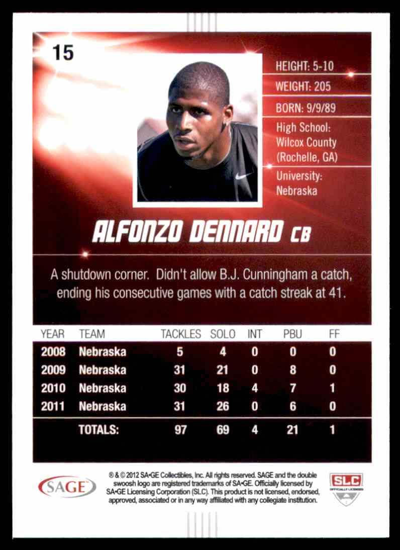 2012 Sage Hit Alfonzo Dennard #15 card back image