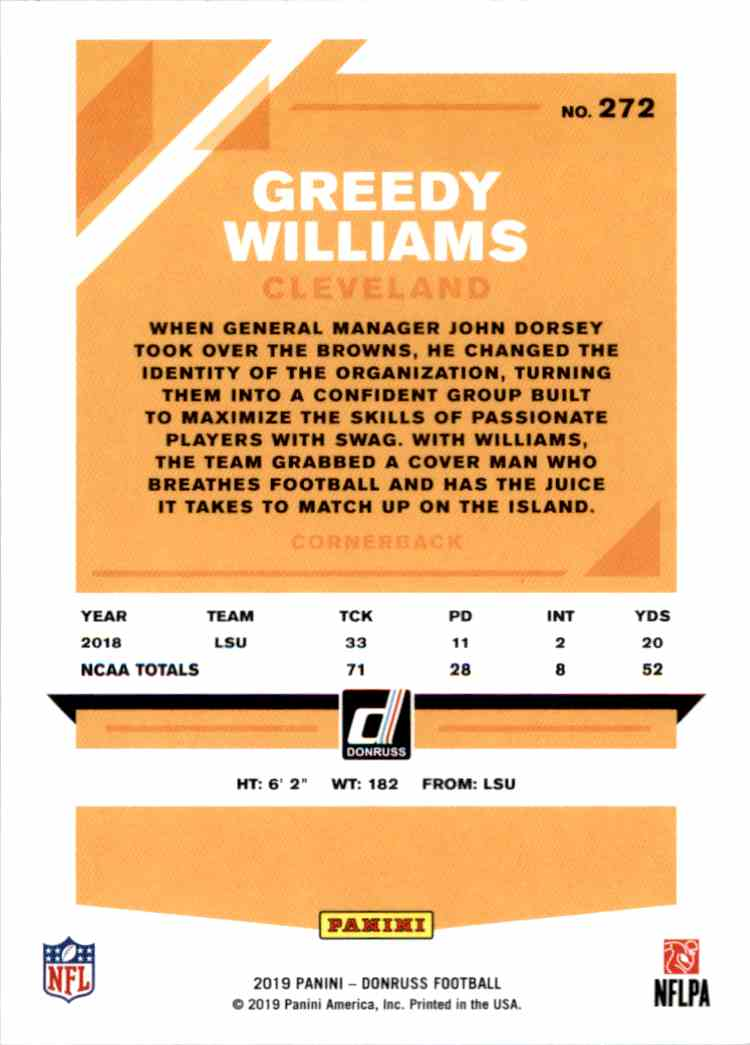 2019 Panini Donruss Greedy Williams #272 card back image
