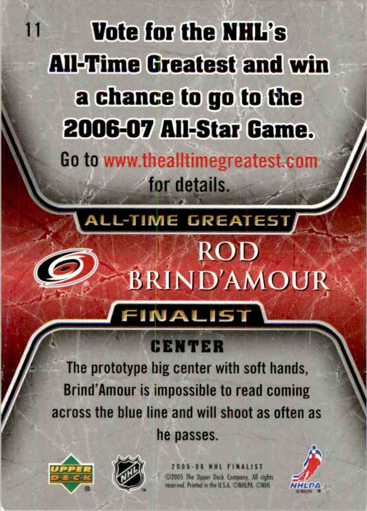 2005-06 Upper Deck All Time Greatest Rod Brind'Amour #11 card back image