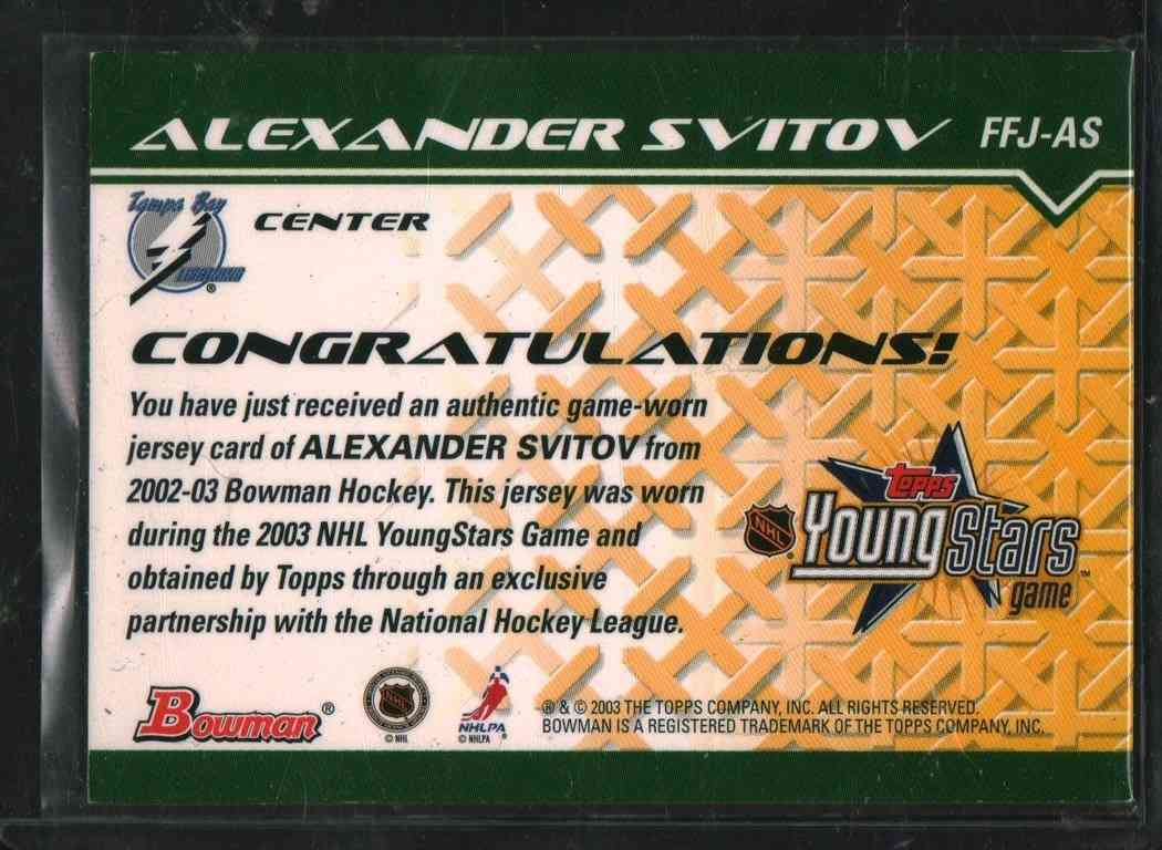 2003-04 Topps Young Star Alexander Svitov #FFJ-AS card back image