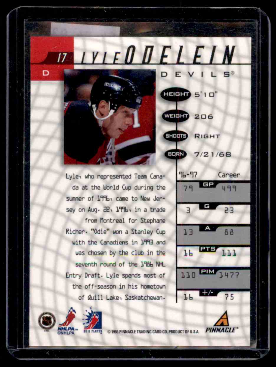 1997-98 Be A Player Autographs Lyle Odelein #17 card back image