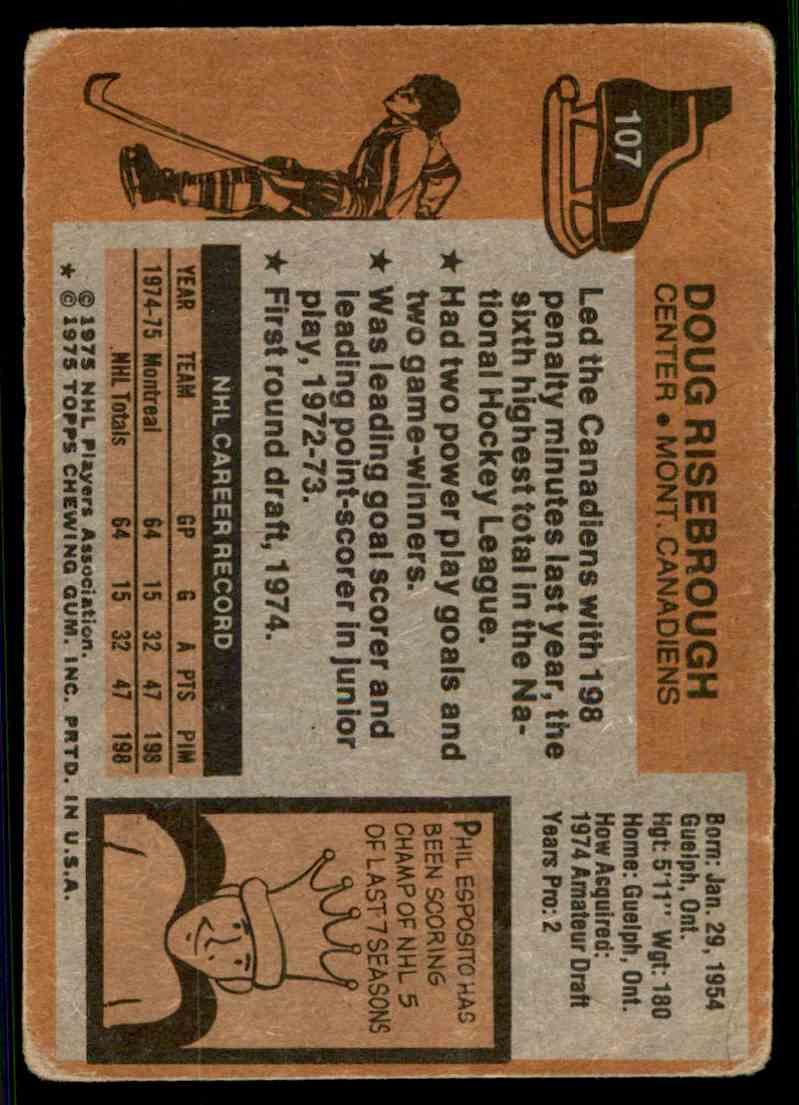 1975-76 Topps Doug Risebrough #107 card back image
