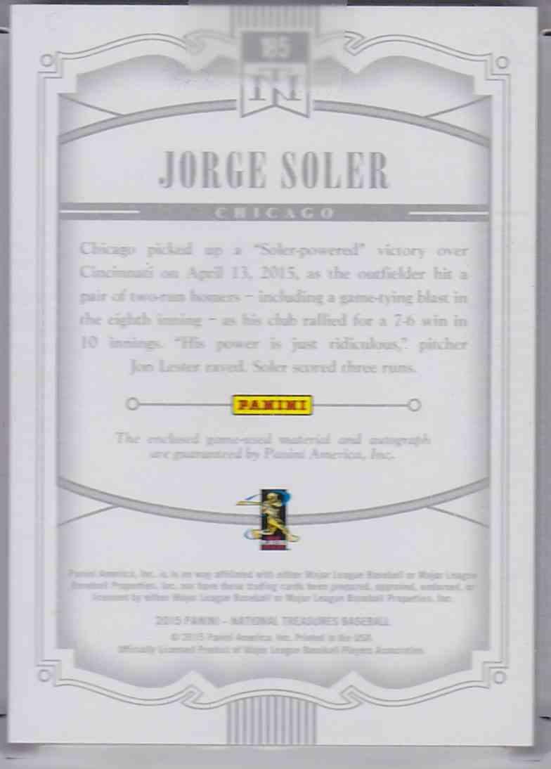 2015 Panini National Treasures Rookie Material Signature Gold Jorge Soler #185 card back image