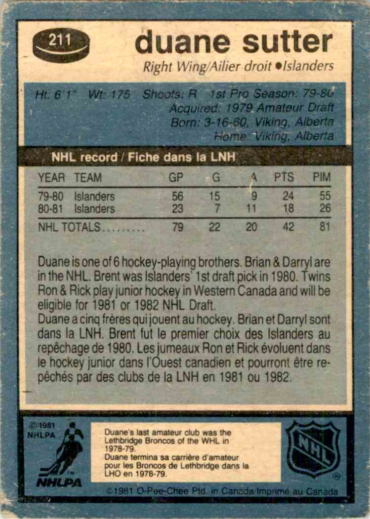 1981-82 O-Pee-Chee Duane Sutter #211 card back image