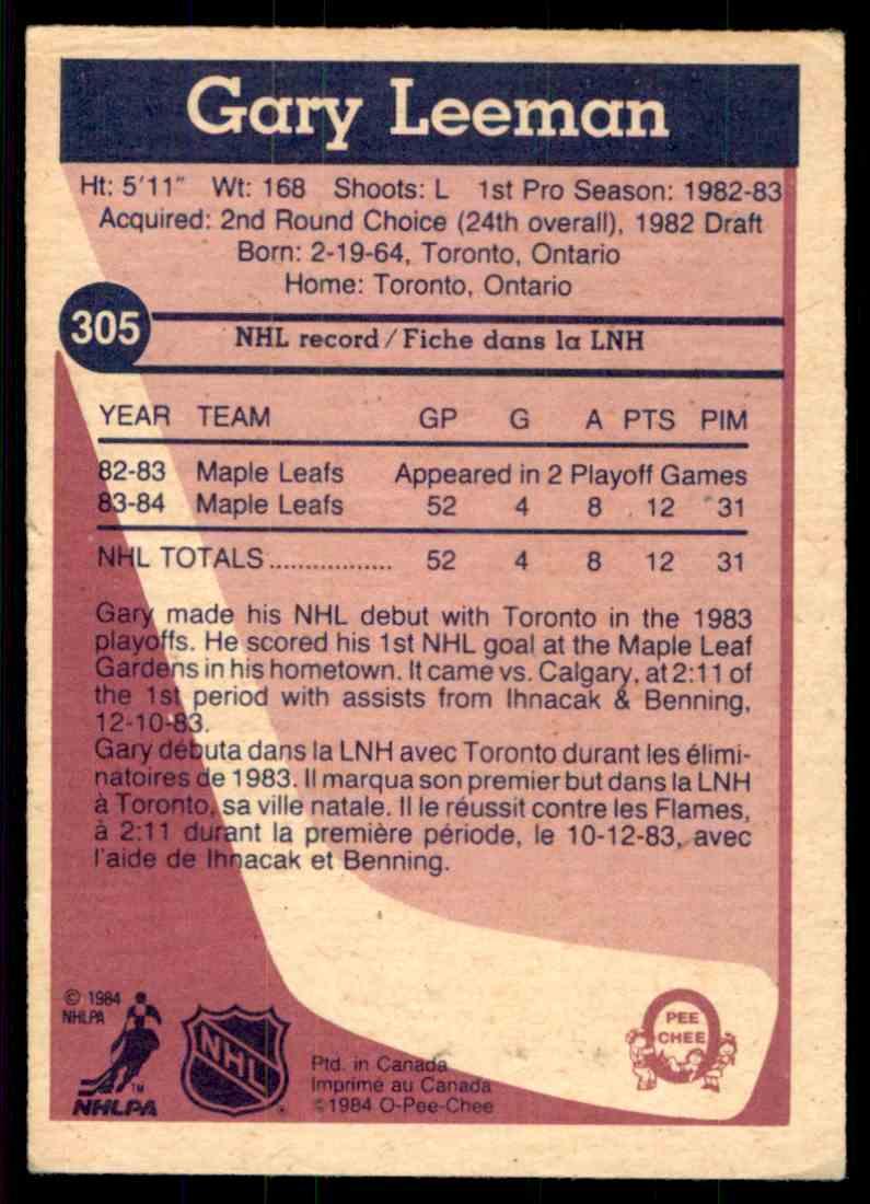 1984-85 O-Pee-Chee Gary Leeman #305 card back image