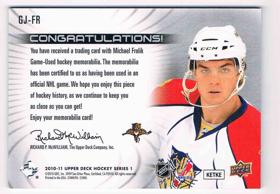 2010-11 Upper Deck UD Game Jersey Michael Frolik #GJ-FR card back image