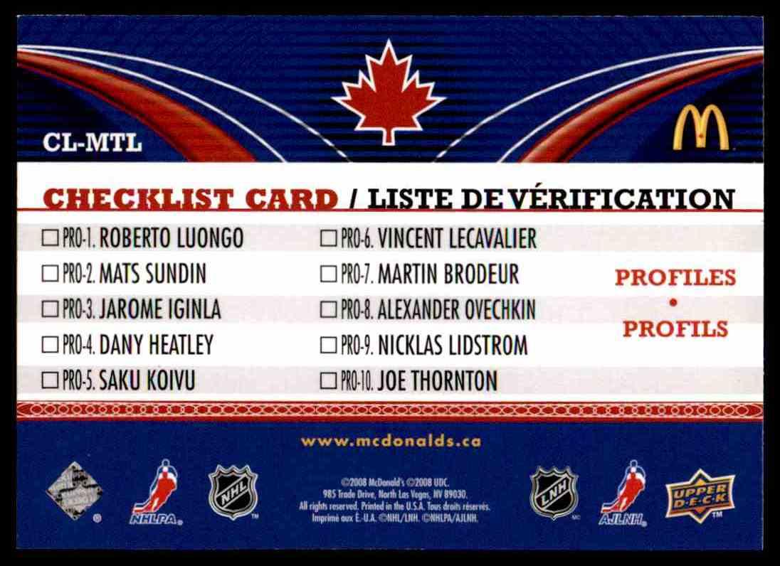 2008-09 mcdonalds Canadian Goalie Checklist Carey Price #CL-MTL card back image
