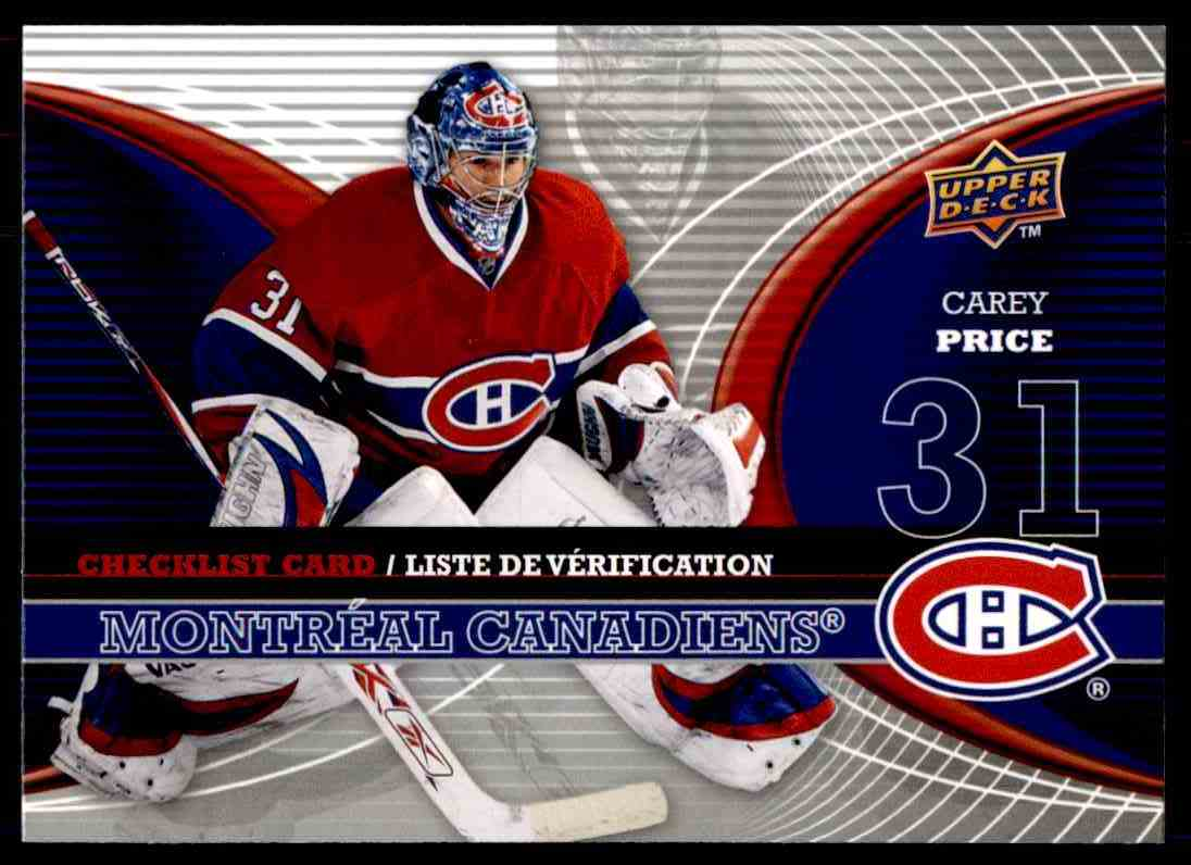 2008-09 mcdonalds Canadian Goalie Checklist Carey Price #CL-MTL card front image
