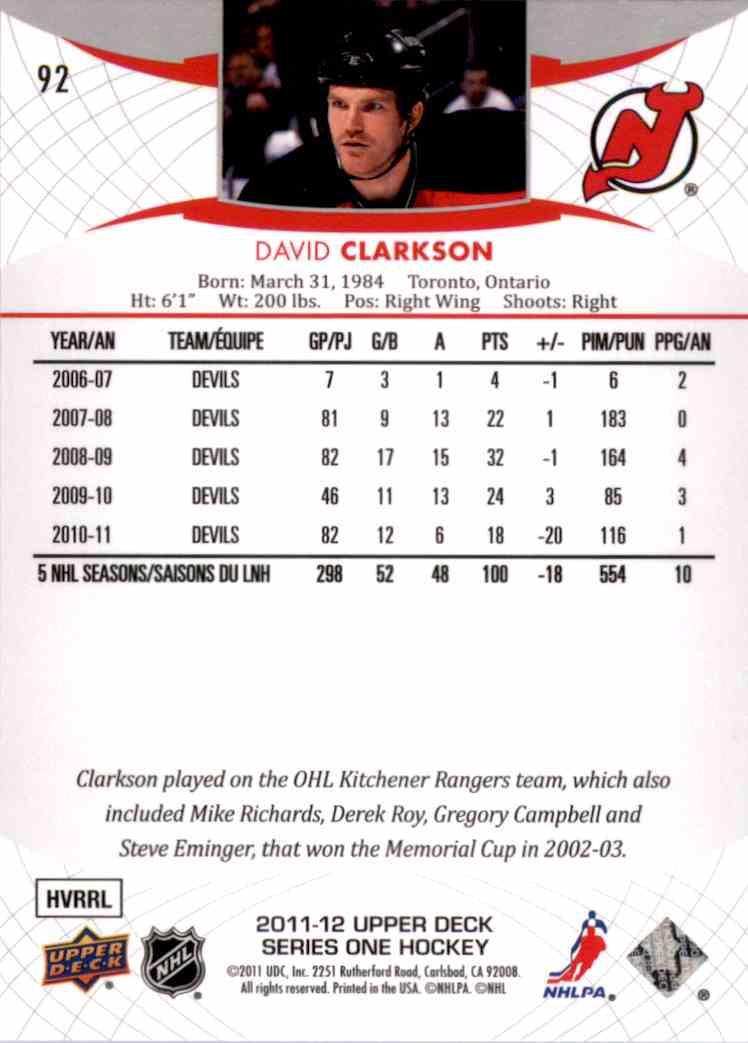2011-12 Upper Deck David Clarkson #92 card back image