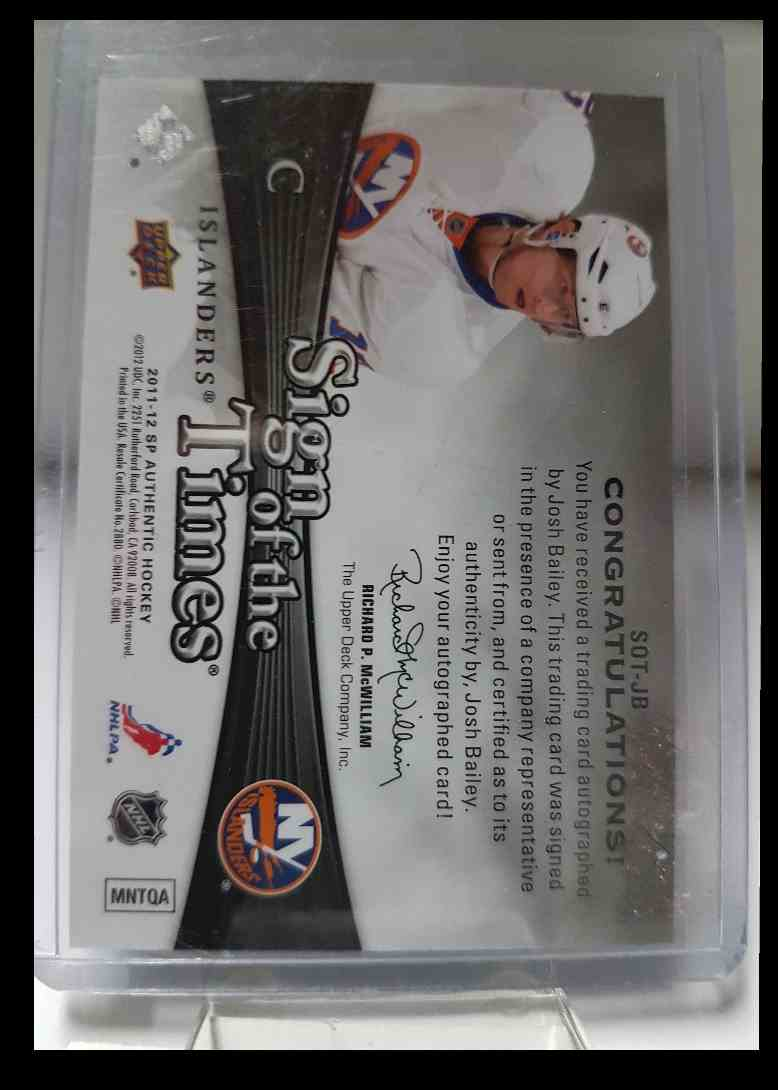 2011-12 SP Authentic Sign Of The Times Josh Bailey #SOT-JB card back image