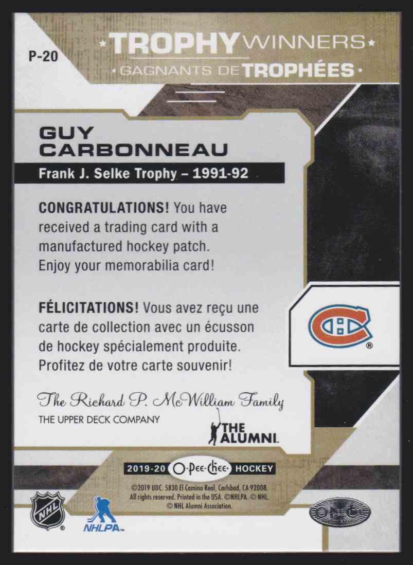 2019-20 Upper Deck Hockey O-Pee-Chee Guy Carbonneau - Trophy Winner Patch #P-20 card back image