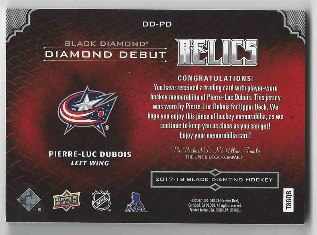 2017-18 Black Diamond Diamond Debut Relics Pierre-Luc Dubois #DD-PD card back image